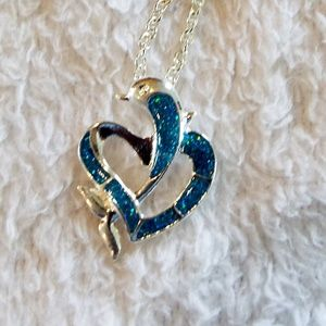 Dolphin silver and blue crushed glass necklace new